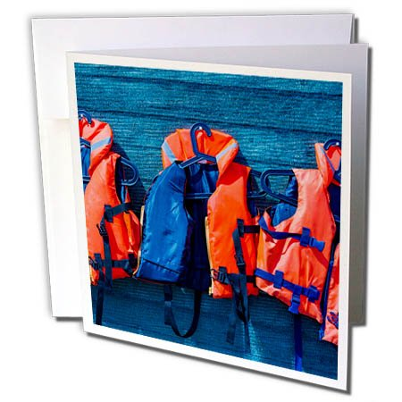 3dRose Alexis Photography - Objects - Water safety goes first. Orange life saving jackets on a blue wall - 1 Greeting Card with envelope (gc_267156_5) Card Blue Jackets