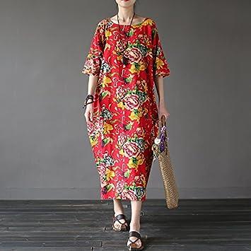 XIU*RONG Primavera Y El Verano De Algodón Ropa De Vestir Vestidos Sueltos Imprimir F