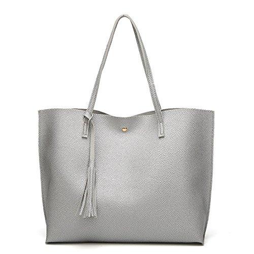 Espeedy Women Casual Silver Shoulder Bag Bags Tassels Lady Purse Travel Pu Leather Handbag TqrST