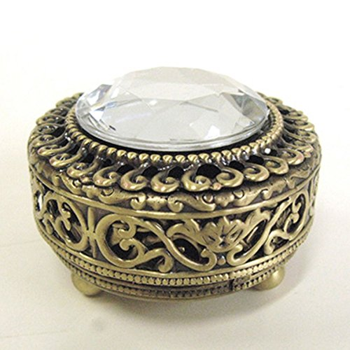 Mini Vintage Round Jewelry Decorative Trinket Box Ring box Small Metal Case 2.2 inch -