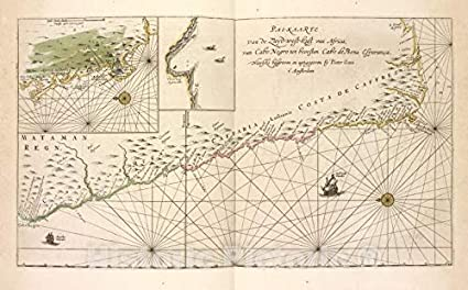 Amazon.com: Historic Map | 1672 Cape of Good Hope (South Africa) Pas on
