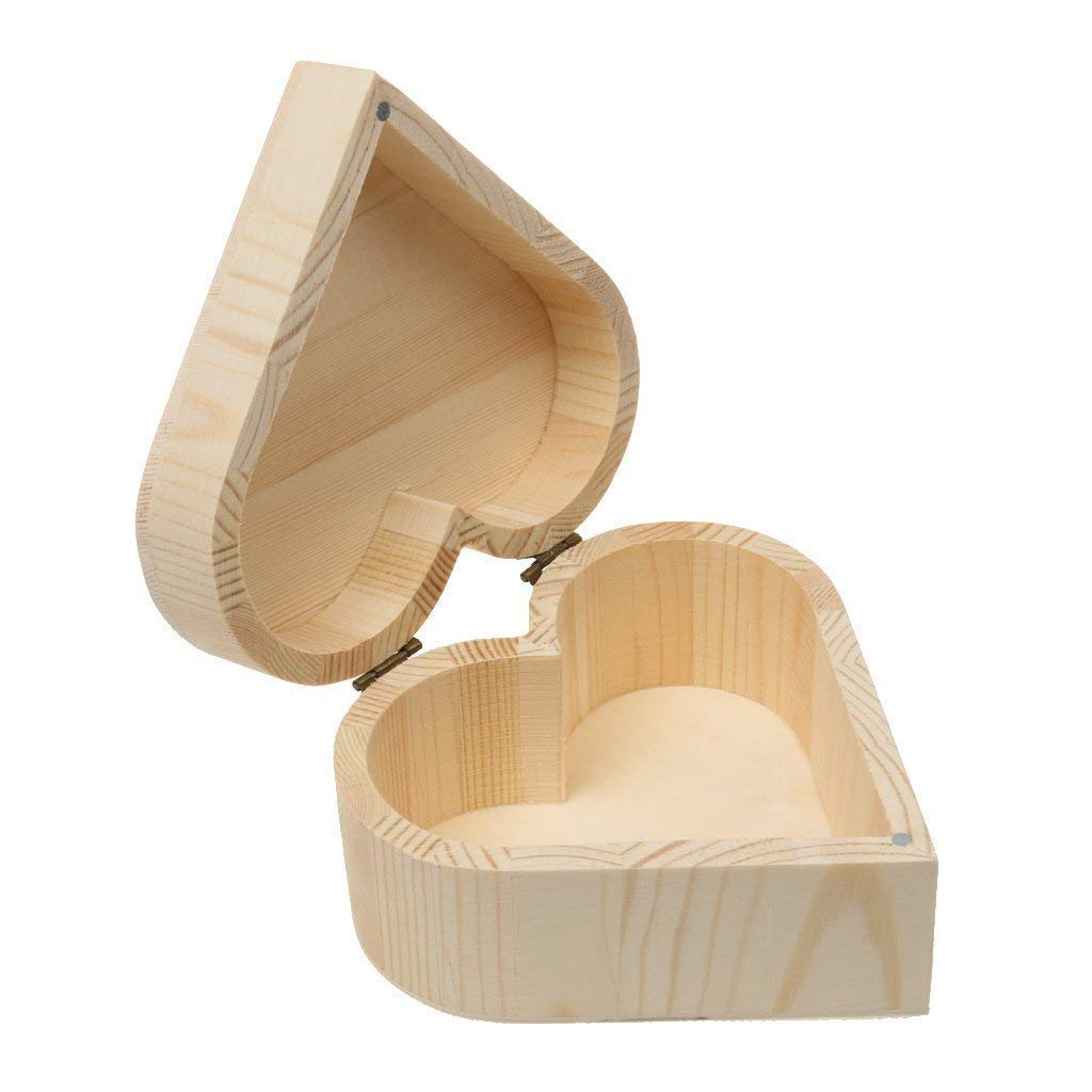 Xeminor Wooden Storage Case Durable Wooden Trinket Box Heart Trinket Box Plain Wooden Case Wooden Crafts Case for Trinket Jewellery Gift 1 Pcs