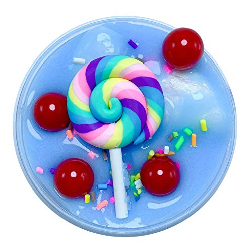 Gbell Cute Kids Lollipop Butter Slime Putty Toy - Stress Relief Sludge DIY Fluffy Slime Squishies Mud Clay Toys Gifts for Kids Adults,2 OZ Non Sticky (Blue ()