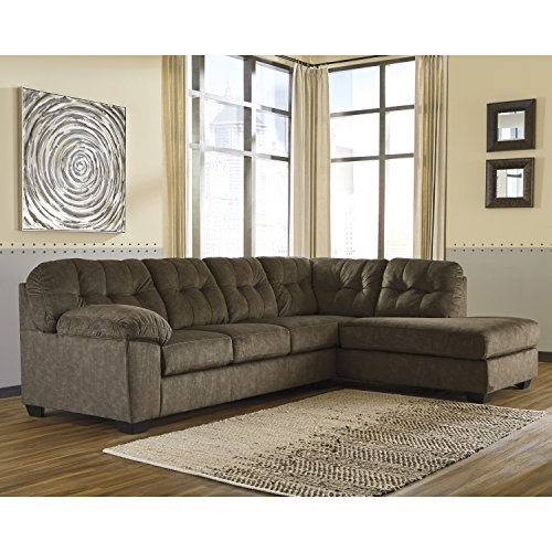 2 Settee Piece (Flash Furniture Signature Design by Ashley Accrington 2-Piece LAF Sofa Sectional in Earth Microfiber)