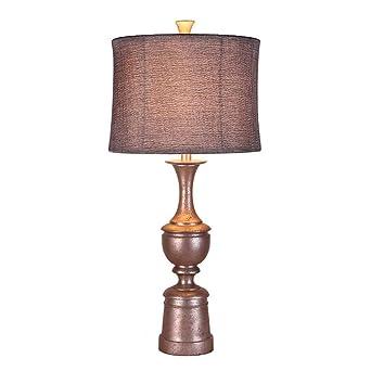 Lámpara de mesa JFHGNJ Lámpara de mesa vintage con sombra de tela ...