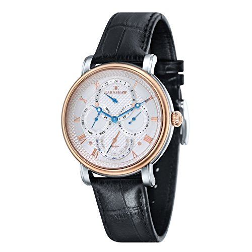 Thomas Earnshaw Men's 'LONGCASE MASTER CALENDAR' Quartz Stainless Steel and Leather Dress Watch, Color:Black (Model: ES-8048-04)