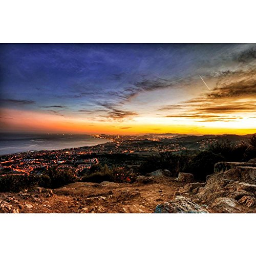 Pitaara Box Barcelona Skyline Sunset, Spain Unframed Canvas Painting 42.1 x 28inch by Pitaara Box