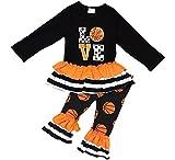 Little Girl Kids Long Sleeve Love Basketball Ruffle Capris Pants 2 PC Set Orange 4 M 201187