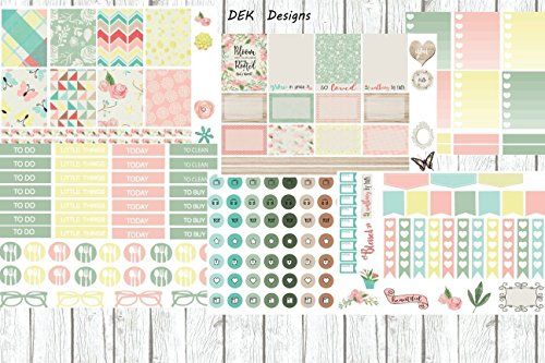 Half Kits Matte (Bloom planner sticker kit. 6 half size sheets matte paper included. Sized for Erin Condren, but will work in most planners.)