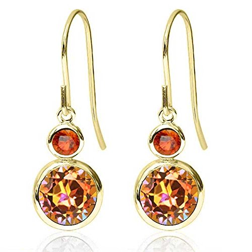 2.16 Ct Round Ecstasy Mystic Topaz Orange Sapphire 14K Yellow Gold Earrings