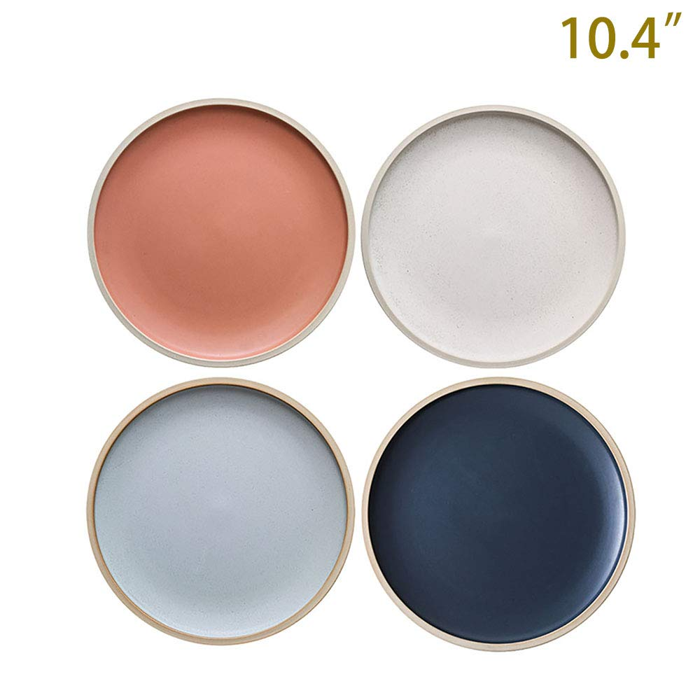 10.4-Inch Porcelain Dinner Plates Set Pizza Pasta Serving Plates Matte Glaze Dessert Dishes Set of 4