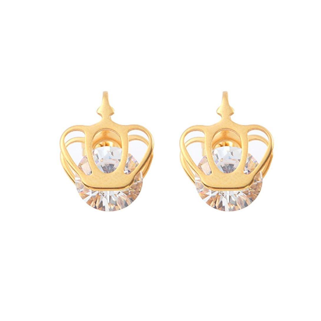 Elogoog Women Jewelry Women's Stainless Steel Crown Earrings with Crystal Zircon Earrings Hypoallergenic Studs Jewelry (Gold)