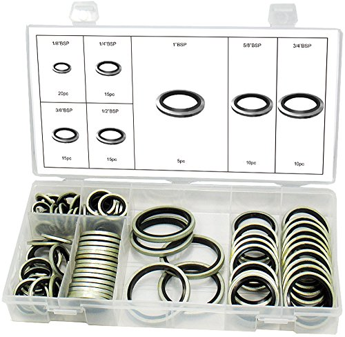 Swordfish 32300 - BSP Dowty Bonded Seal Washer Assortment, Pack of 90