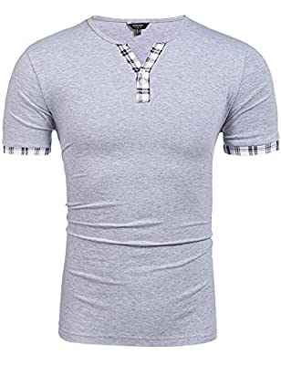 COOFANDY Men's Casual Plaid Short Sleeve Shirts Slim Fit Henley T-Shirts Tee with Button