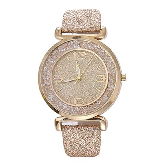 ZXMBIAO Reloj Mujer Relojes Cristal Rhinestone Relojes De Pulsera De Cuarzo De Acero Inoxidable, Oro