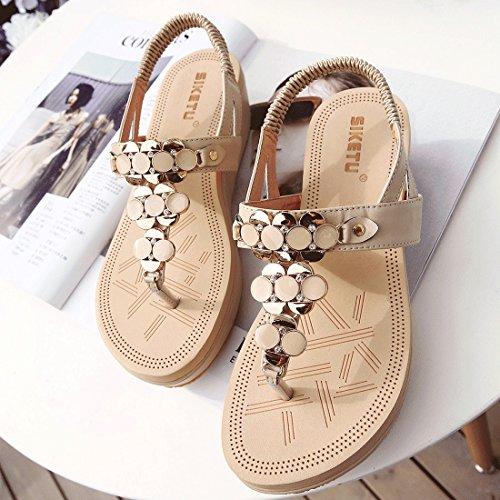 T Shoes mujer Beach Flops cuña Para Rhinestone albaricoque de de correa Flip 11 YIBLBOX Plataforma Slip Casual on Sandalias verano REZBqxS