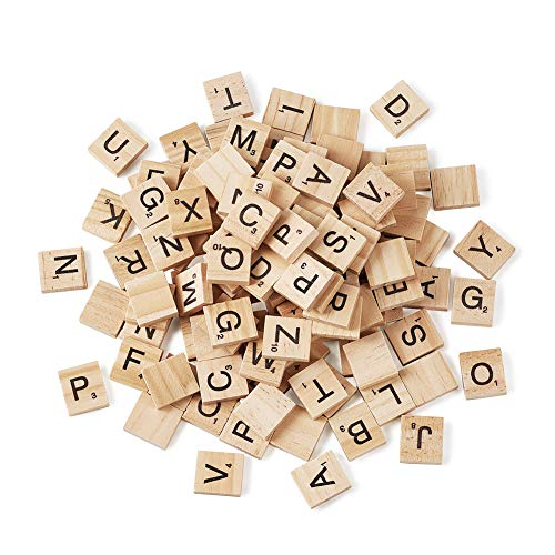Assorted Almond - Craftdady 100pcs Blanched Almond Wood Cabochons Square with Assorted Letter Alphabe Bead for DIY Bracelet Necklace Crafting Stationery Decoration Scrabble Findings