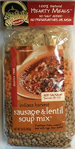 Frontier Soups Indiana Harvest Sausage & Lentil Soup Mix Gluten Free 16 oz (Pack of 2)