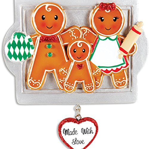 Personalized Made with Love Family of 3 Christmas Tree Ornament 2019 - Parent Child Gingerbread Cookie Roller Pin Tray Glitter Heart Sweet Tradition Winter Activity Gift Year - Free Customization