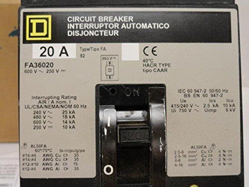 FA36020 I-Line 600V 20 AMP 3 POLE SCHNEIDER Breaker SQUARE D 20A 3P