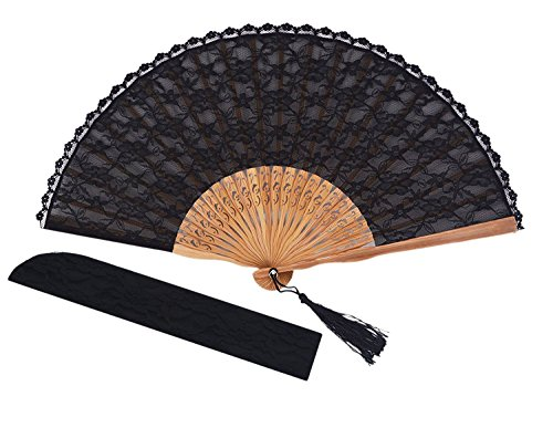 Amajiji Chinese/Japanese Vintage Retro Style Bamboo Wood Silk Folding Hand Fan for Women HBSY (23cm) (006)