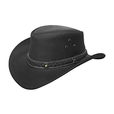 Brandslock Mens Vintage Black and Brown Wide Brim Cowboy Aussie Style  Western Bush Hat (Small 8040f29a705