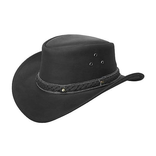 0d5e86589c8 Brandslock Mens Vintage Black and Brown Wide Brim Cowboy Aussie Style  Western Bush Hat (Small