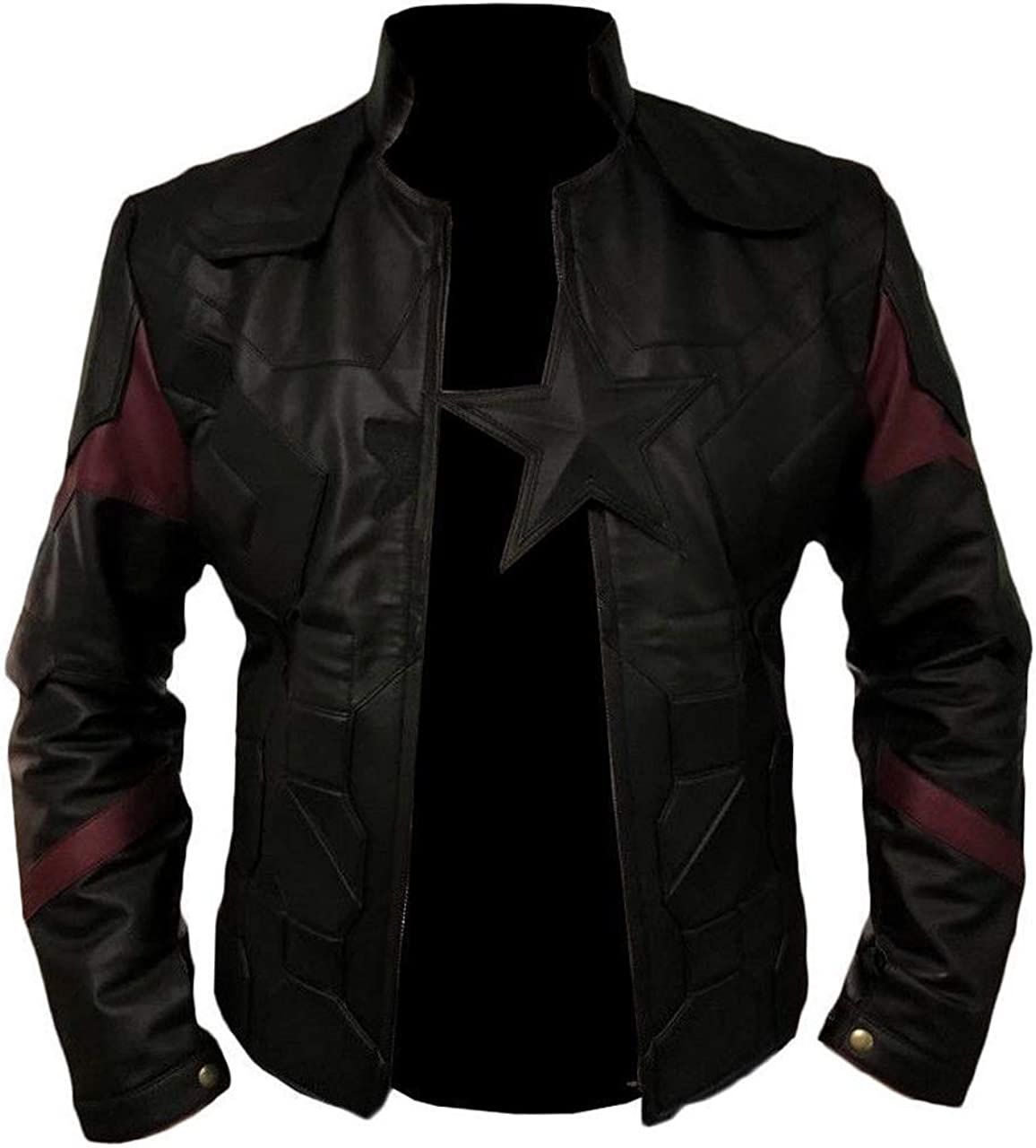 O/&A COUTURE Infinity War Black Star Logo Superhero Leather Jacket