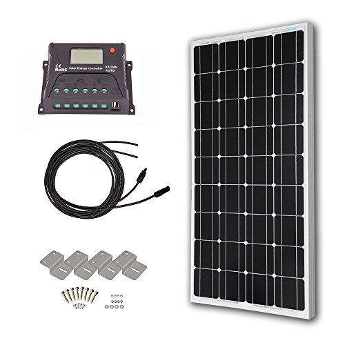 HQST 100 Watt 12 Volt Monocrystalline Solar Panel Kit with 20A PWM Charge Controller with LCD (20a Charger Module)