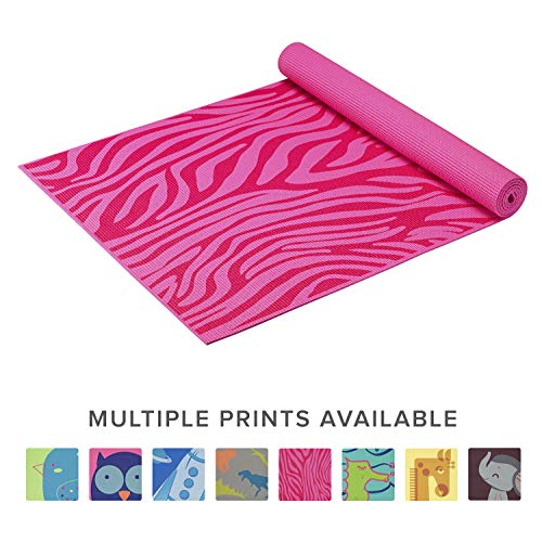 Gaiam Kids Yoga Mat Exercise Mat, Yoga for Kids with Fun Prints - Playtime for Babies, Active & Calm Toddlers and Young Children, Pink Zebra, 3mm