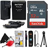 SanDisk 32GB Ultra SD Memory Card + NB-13L Battery/Charger + Xtech Starter Kit for Canon PowerShot G1 Mark III G5X G7X G9X G7 X Mark II G9X Mark II SX620 HS SX730 HS SX720 HS Digital Cameras