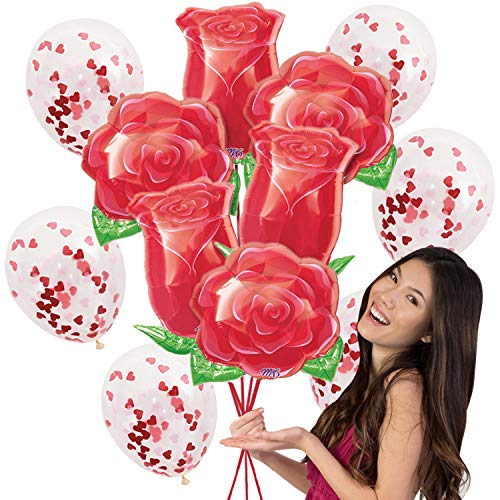 Special Occasion Mylar Balloon Bouquet - 12 pc Set with 6 Large Mylar Roses Balloons & 6 Clear Balloons with Red Heart Confetti - Birthday, Proposal Balln(Roses) Red -