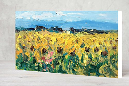 Large Landscape Sunflowers Prints on Canvas Ready to Hang Tuscan Field Wall Art Country Decor Tuscany Italy Artwork Room Decoration Home Decor Living Room Office Gifts Women Men Christmas by AGOSTINO VERONI ORIGINAL PAINTINGS AND FINE ART PRINTS