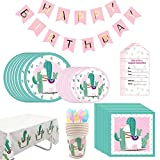 Amycute 122 Pcs Alpaca Disposable Tableware Set, Llama Party Supplies,Llamas Plates Napkins Cups Tablecloth Banner Cutlery Set,Baby Showers Birthday Party Favors Decorations