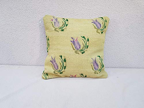 Unique Pattern Handmade Kilim Rug Throw Pillow Cover Cushion, Floral Interior Designer Decor, Aubusson French Tapestry Pillow Wool Chair Sofa Couch Bench Cushion 16'' x 16'' (40 x 40 Cm)