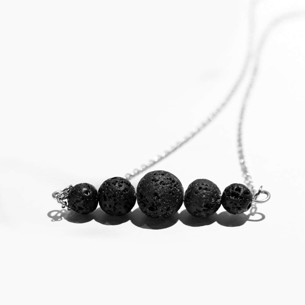 Lava Rock Essential Oil Diffuser Necklace, Minimalist Aromatherapy Jewelry, Simple, Delicate, Dainty Necklace with Stainless Steel Chain MUSTUS MUS12