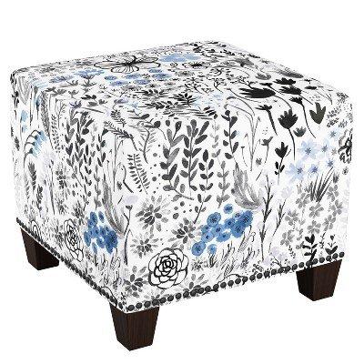 Square Nail Button Ottoman Winter Botanical Blue - Skyline Furniture Winter Botanical Blue