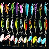 30pcs Fishing Lure Set With Shark Hooks Colorful Mixed Mental Hard Minnow Lures Spinner baits/Pikes/Trout Lures Fishing Hooks Tackle Kit
