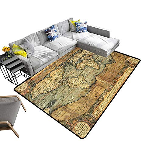 Natural Fiber Area Rug 16Th Century The World History Boundari ography Civilizati Suitable for Bedroom Home Decor 22 x 60 inch