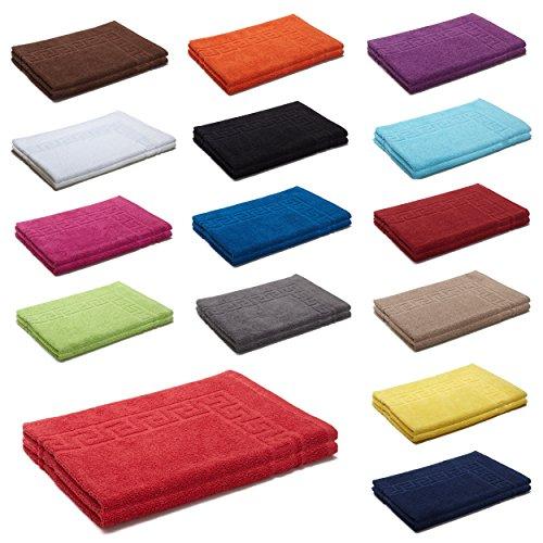2er Packung Duschvorleger Badvorleger Badematte 50 x 70 cm 100% Baumwolle 700 g/m² , Farbe: Royal
