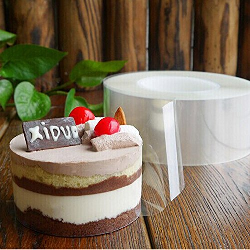 Astra Gourmer 3.2''W Kitchen Transparent Polyester Mousse & Baked Cake Collar, 200M Roll by Astra Gourmet