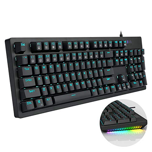 (Mechanical Keyboard Wired RGB Gaming Keyboard with Brown Switches LED-Backlit Mode for Office Gaming by Gofreetech)