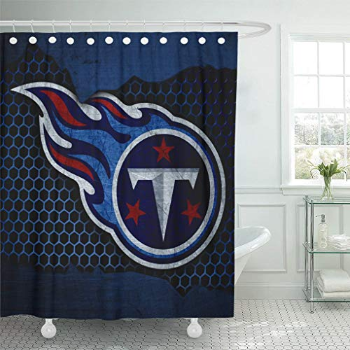 Ladble Decor Shower Curtain Set with Hooks Tennessee City Titans Football Grunge Metal Texture South Division 72 X 78 Inches Polyester Waterproof Bathroom