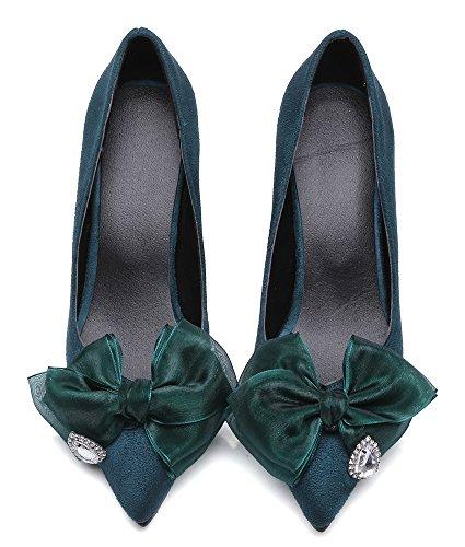 Idifu Mujeres Sexy Bow Rhinestones Stiletto Mid Kitten Talones Bombas De Punta Estrecha Slip On Zapatos De Boda Verde
