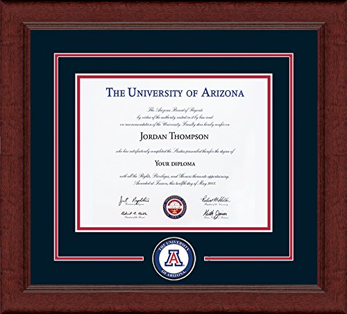 "University of Arizona Diploma Frame - Circle Logo With Navy & Red Mats - 8.5""h x 11""w Diploma Size - Officially Licensed - By Church Hill Classics"