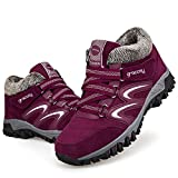 gracosy Women's Hiking Shoes, High Top Sneaker Winter Warm Hook Loop Snow Shoes Fur Lining Suede Ankle Bootie Red 6 M US