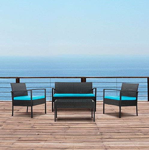 Modern Outdoor Garden, Patio 4 Piece Set - Wicker Sofa Furniture Set (Black / Blue) (Modern Furniture Outdoor Sets)