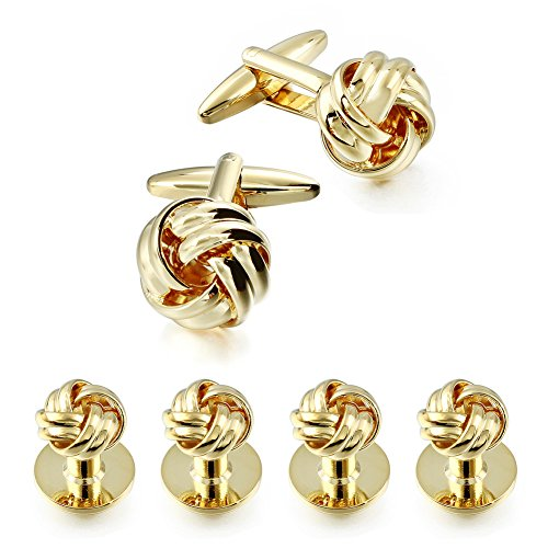 Gold Flower Link (HAWSON Personalize Gold Flower Knot Man Shirt Tuxedo Studs and Cufflinks Set)