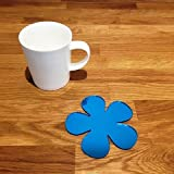 Coaster Set - Daisy - Blue Mirror - Set of 4