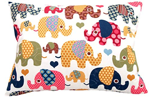 3x18 by Comfy Turtles, 100% Cotton, or Get Your Kid's Smile with Cute Animals of This Soft Hypoallergenic Pillow Cover (Beige Elephants) ()